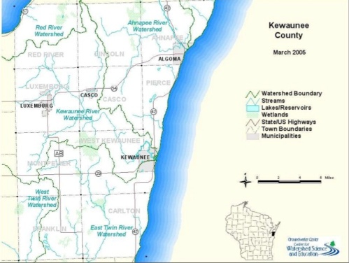 Kewaunee County watershed map