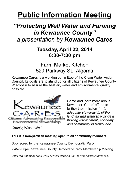 Kewaunee Cares  April 22, 2014