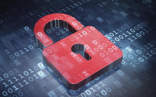Information concept: Red Closed Padlock on digital background